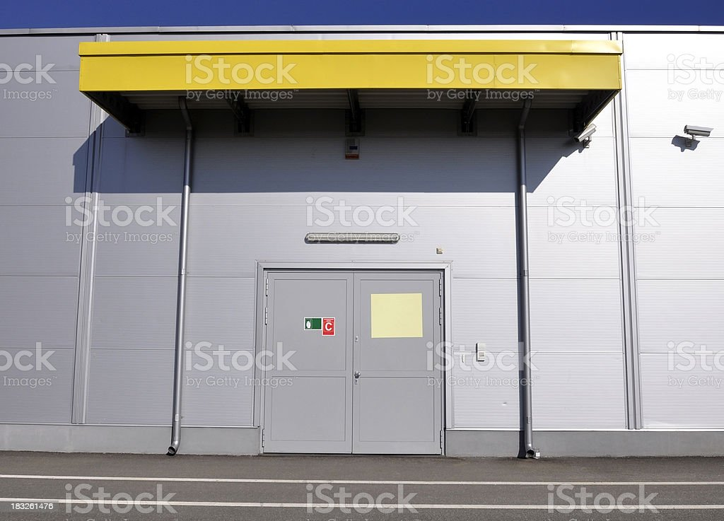 entrance to the warehouse stock photo