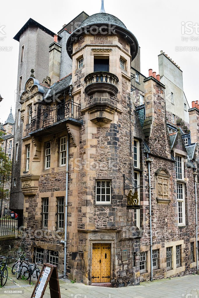 Entrance to The Writers' Museum in Edinburgh, Scotland stock photo
