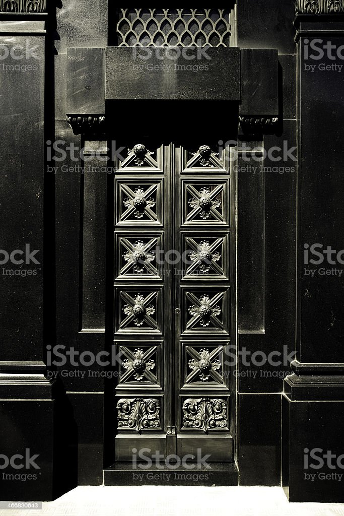 Entrance to Tomb at Recoleta Cemetary Buenos Aires royalty-free stock photo