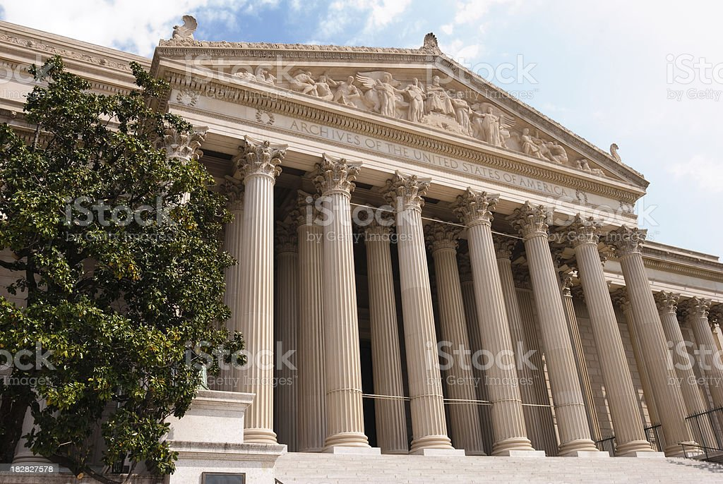 Entrance to United States National Archives in Washington DC royalty-free stock photo
