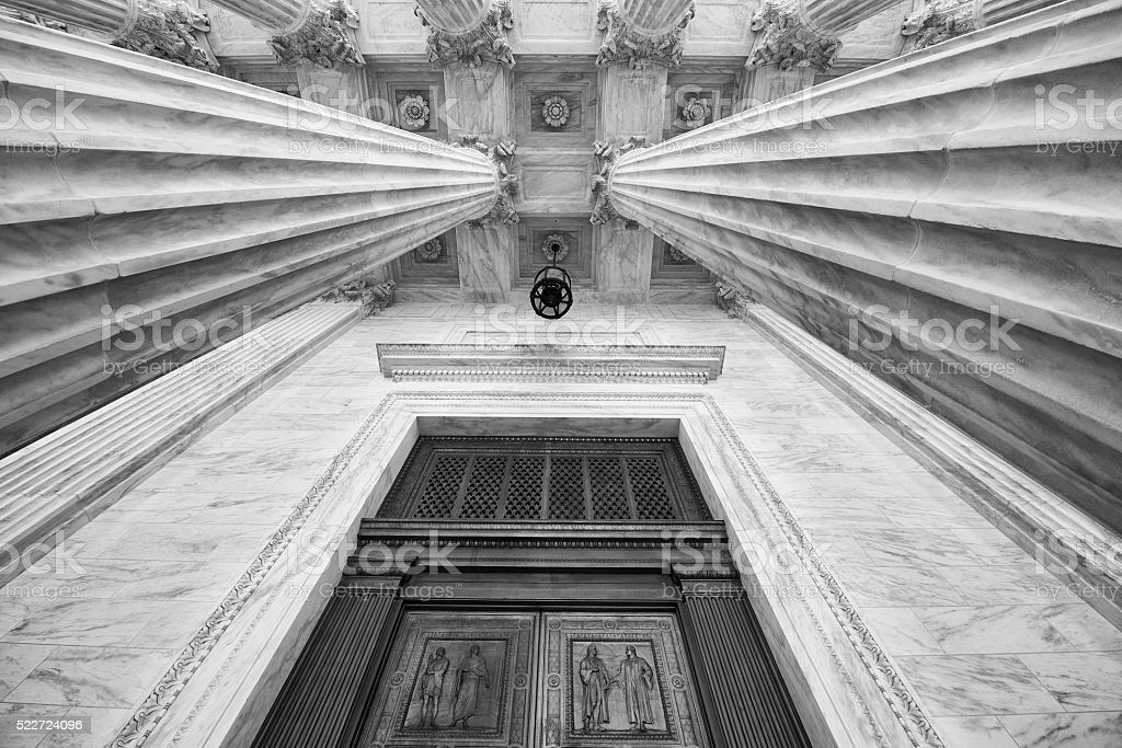 Entrance to U.S. Supreme Court stock photo