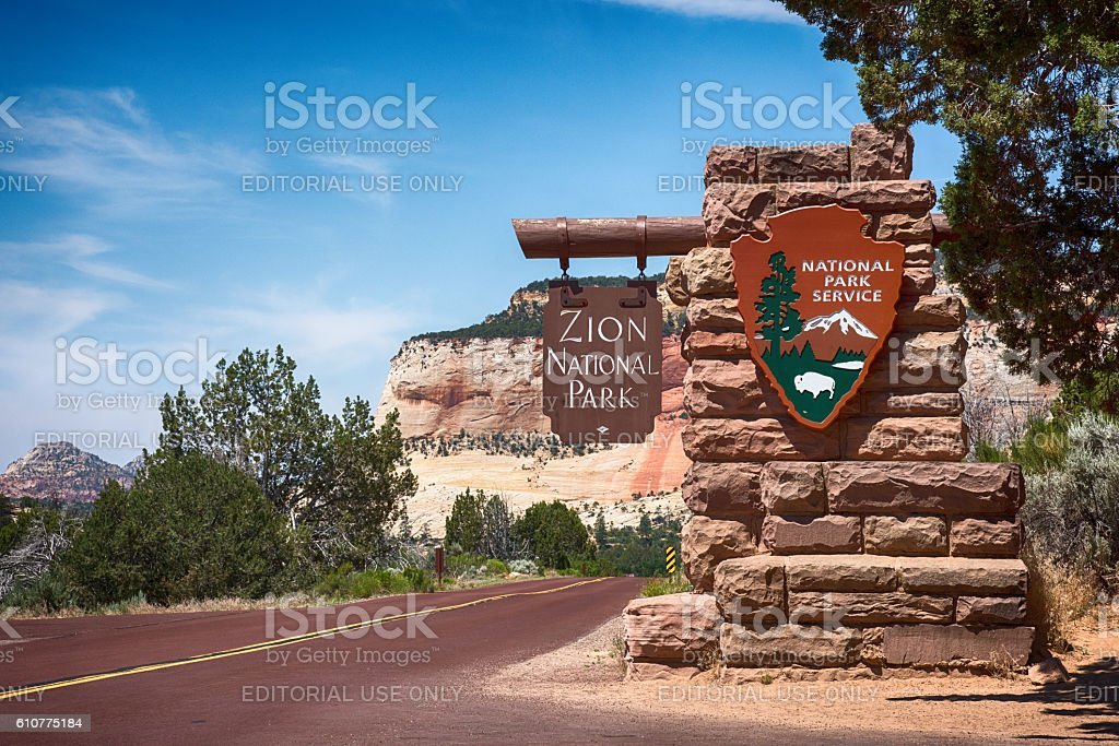 Entrance to Zion stock photo