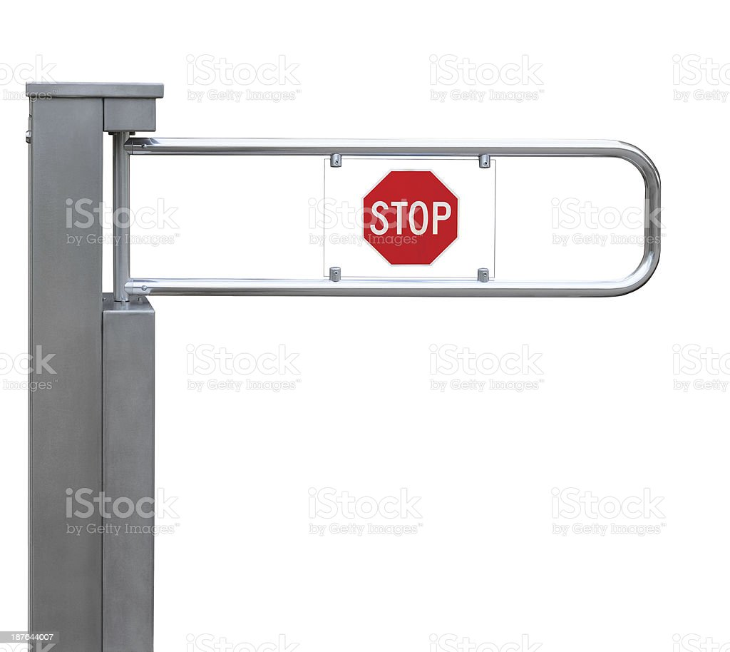 Entrance tourniquet, detailed turnstile, stainless steel, red stop sign, isolated stock photo