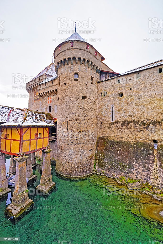 Entrance tower to Chillon Castle on Lake Geneva in Switzerland stock photo