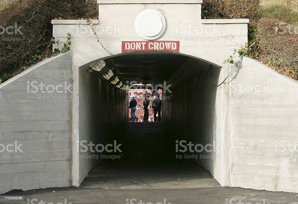 Entrance tunnel to Los Angeles Memorial Coliseum on game day royalty-free stock photo