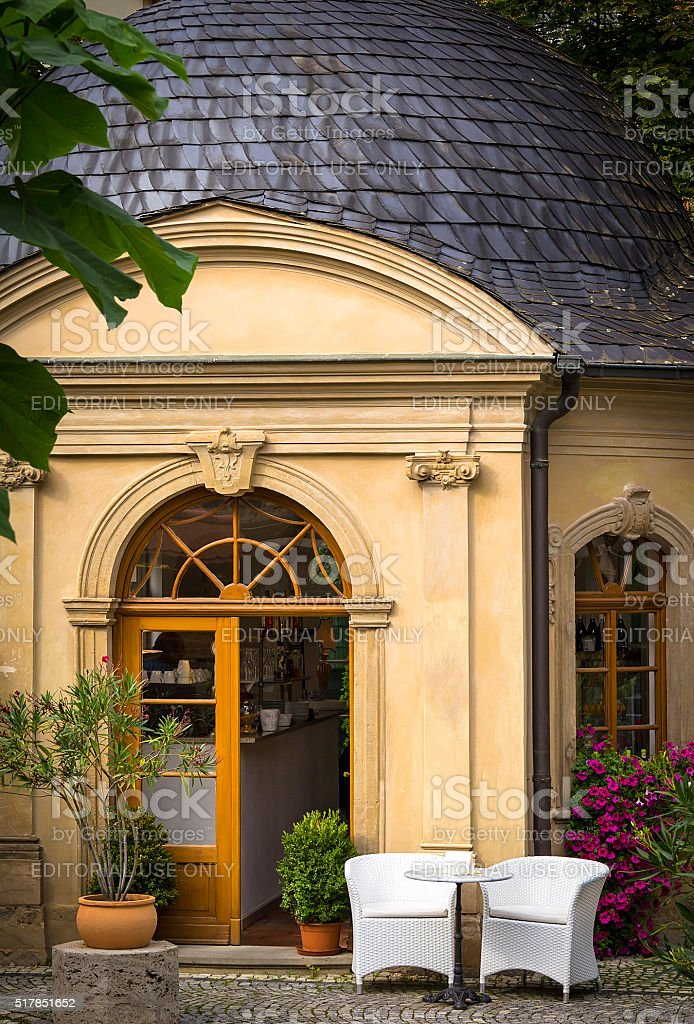Entrance view of a beautiful restaurant stock photo