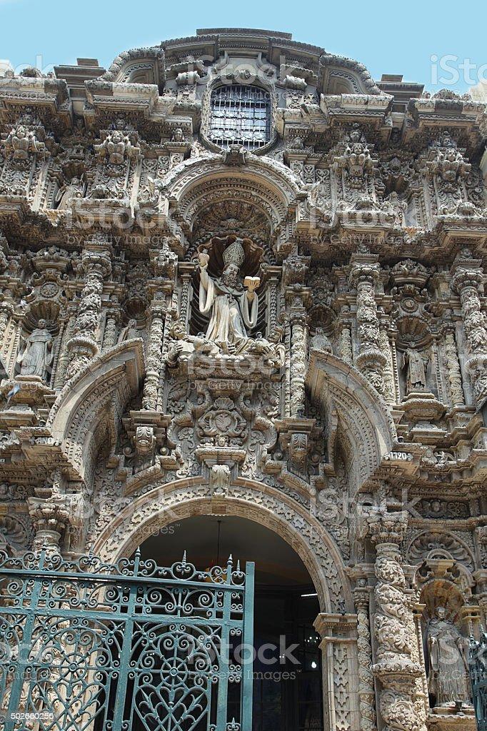 Entrance view of San Agustin barroque church stock photo
