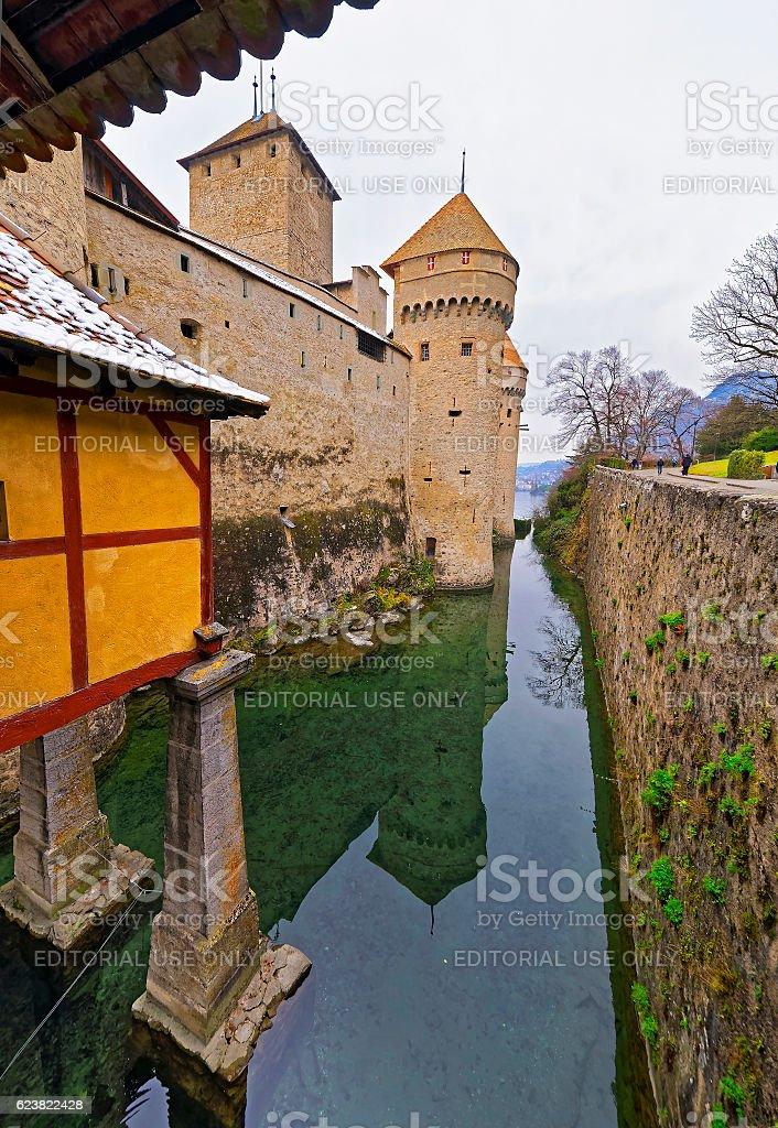 Entrance View to Chillon Castle on Lake Geneva in Switzerland stock photo