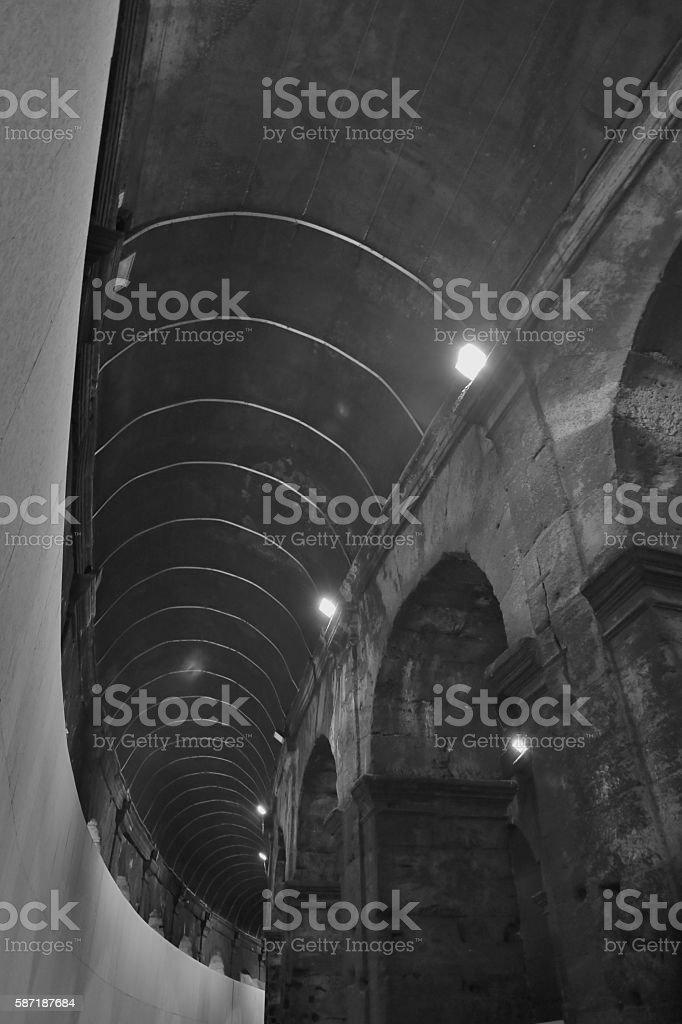 Entrance Ways Into Collosseum-Black and White stock photo