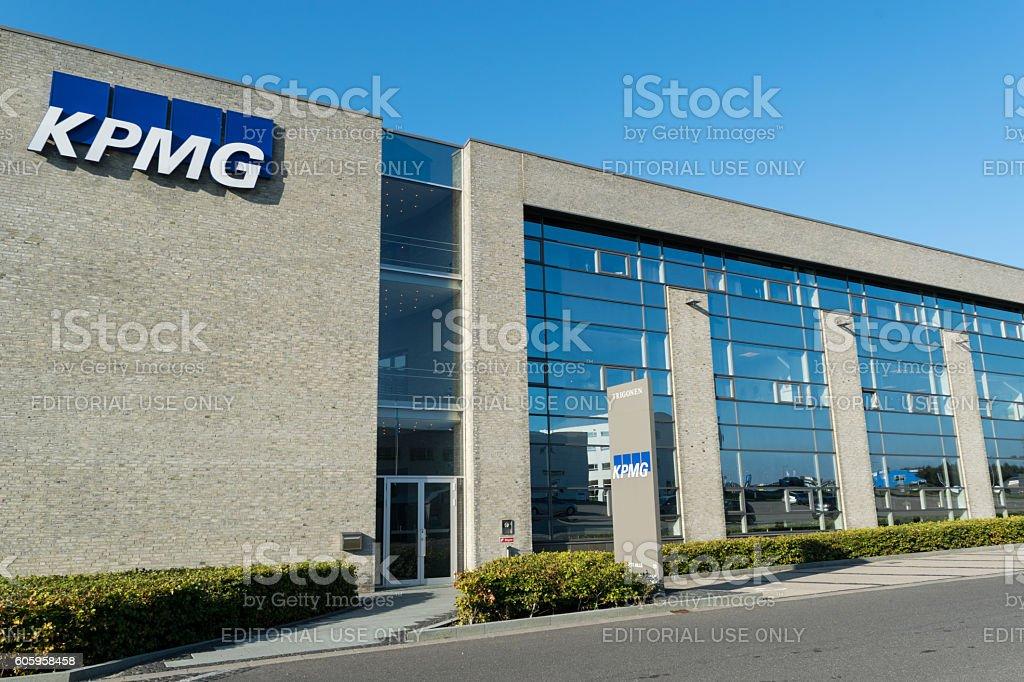 KPMG entrance with logo on building stock photo