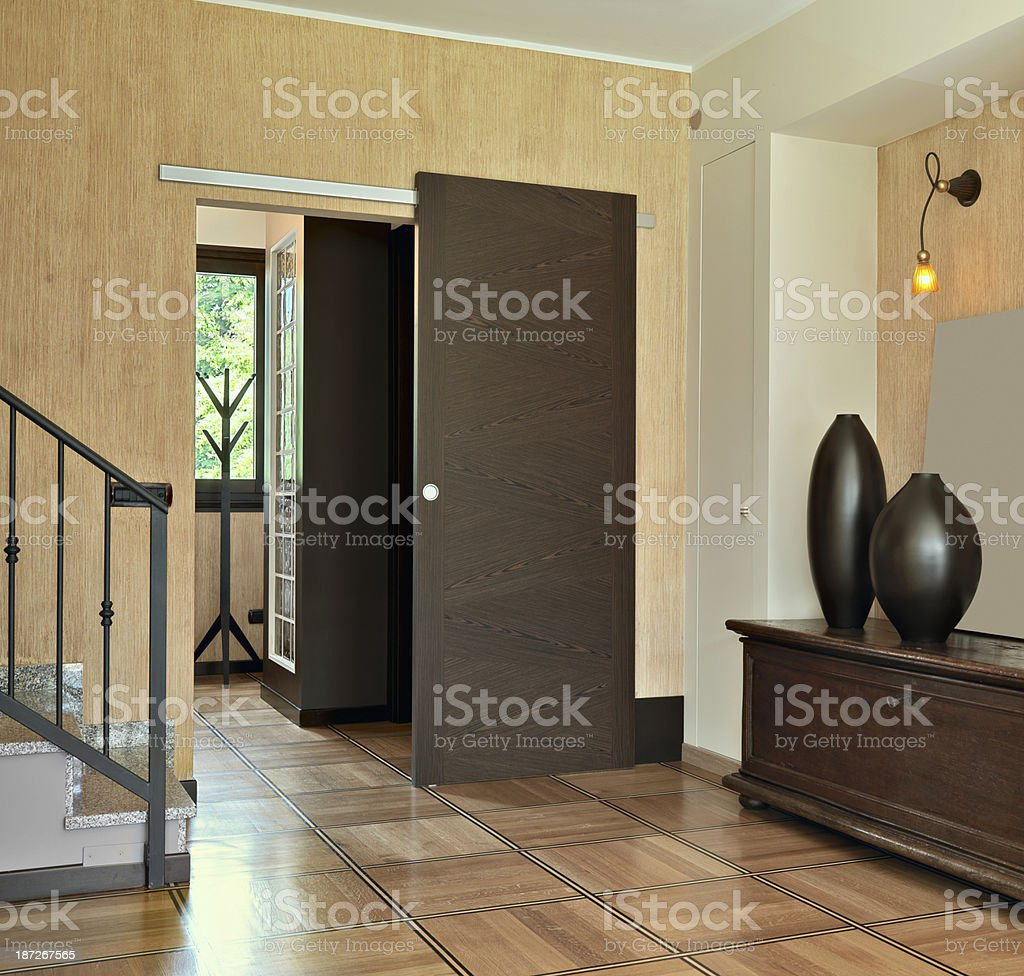entrance with sliding door stock photo