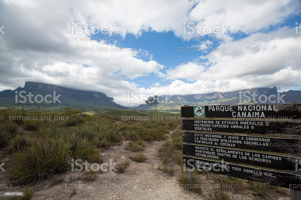Entrance wood sign to Canaima National Park stock photo