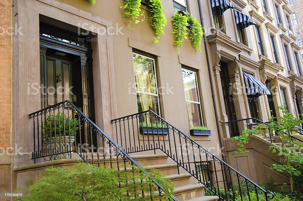 Entrances of homes at Brooklyn Heights in New York City. royalty-free stock photo