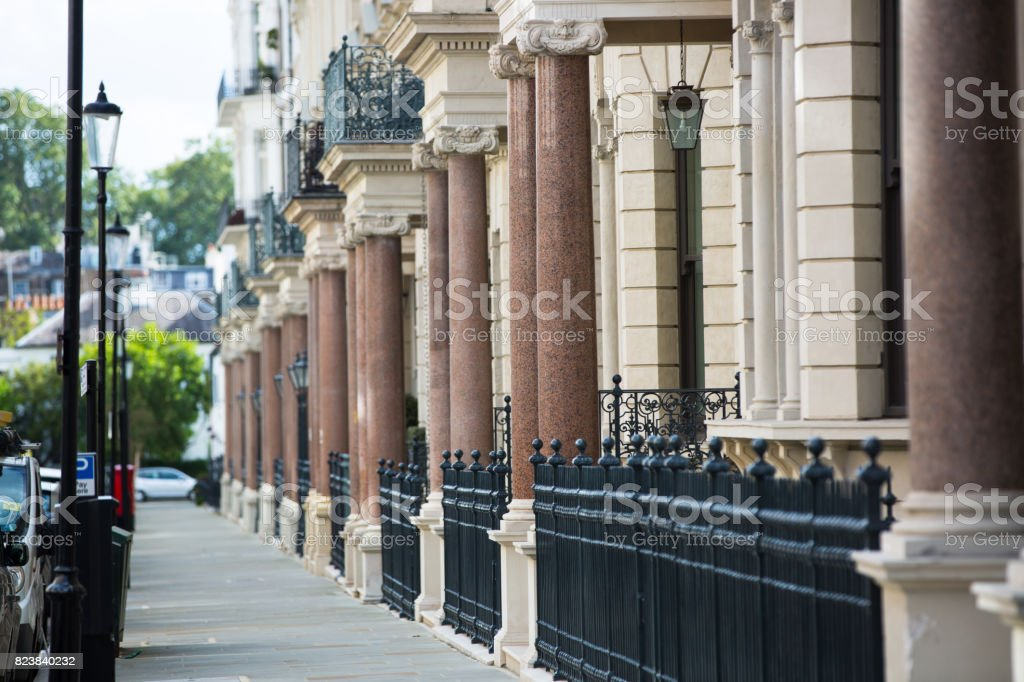 Entrances with columns to the residential apartments in Kensington. Luxury properties of London stock photo