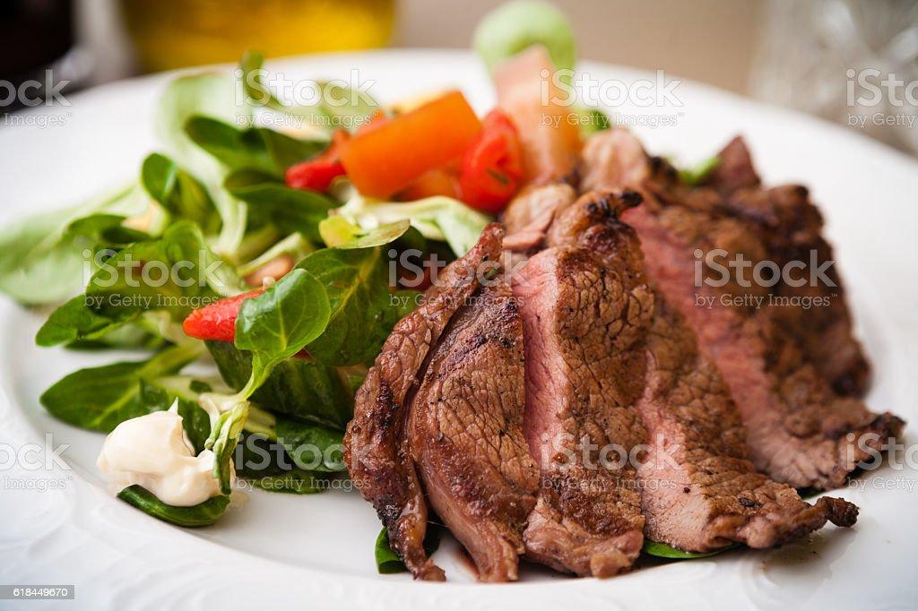 Entrecote with salad stock photo