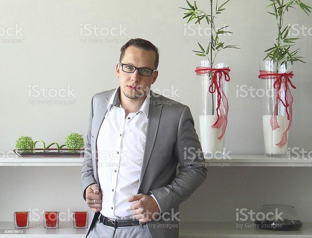 Entrepreneur active in office stock photo