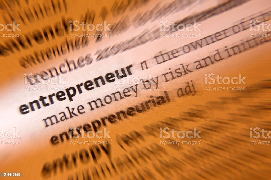 Entrepreneur - Dictionary Definition stock photo
