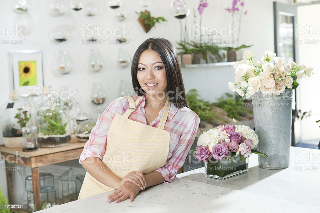Entrepreneur Flower Shop Small Business Owner Working in Her Store royalty-free stock photo