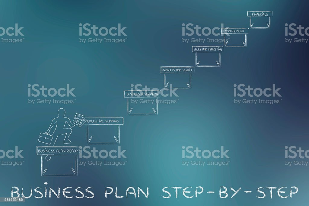 entrepreneur jumpying obstacles, with text Business plan step-by-step stock photo