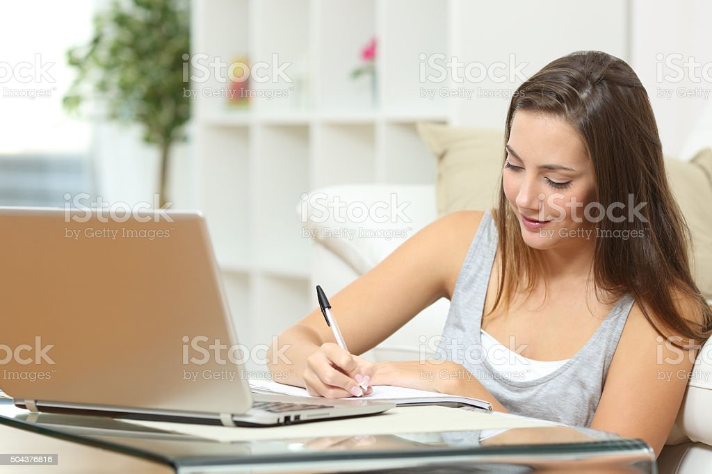 Entrepreneur or student working at home stock photo