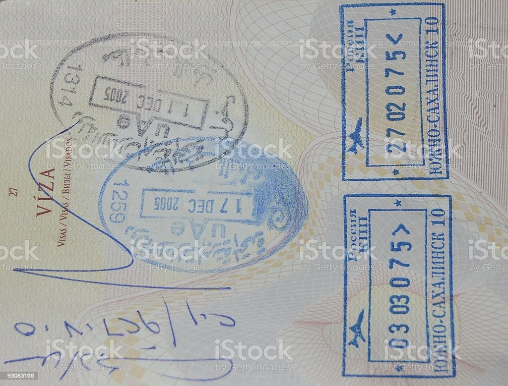 Entry and leaving stamps stock photo