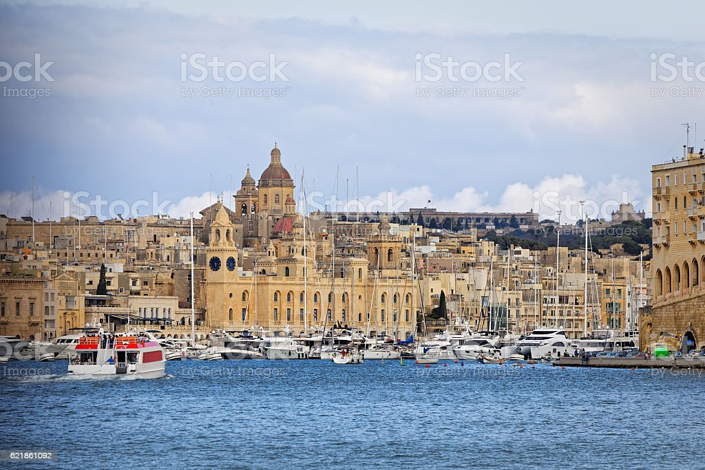 Entry into port of Valletta from the sea stock photo