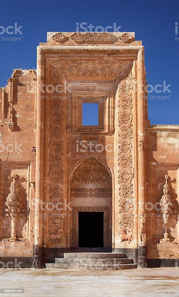 Entry of  Ishak Pasha Palace, Dogubeyazit, Agri, Turkey stock photo