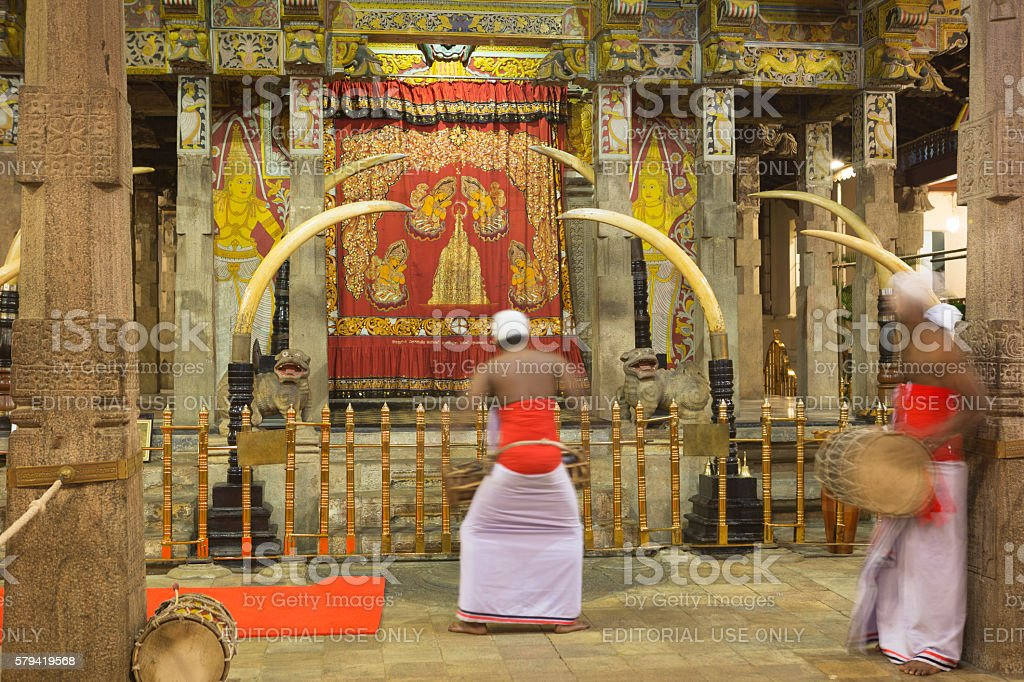 Entry of Temple of the Tooth, Kandy, Sri Lanka stock photo