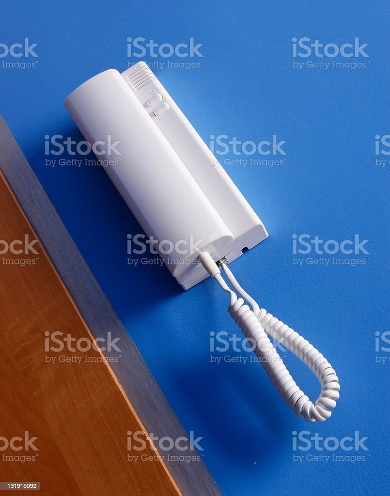 Entry phone in apartment stock photo