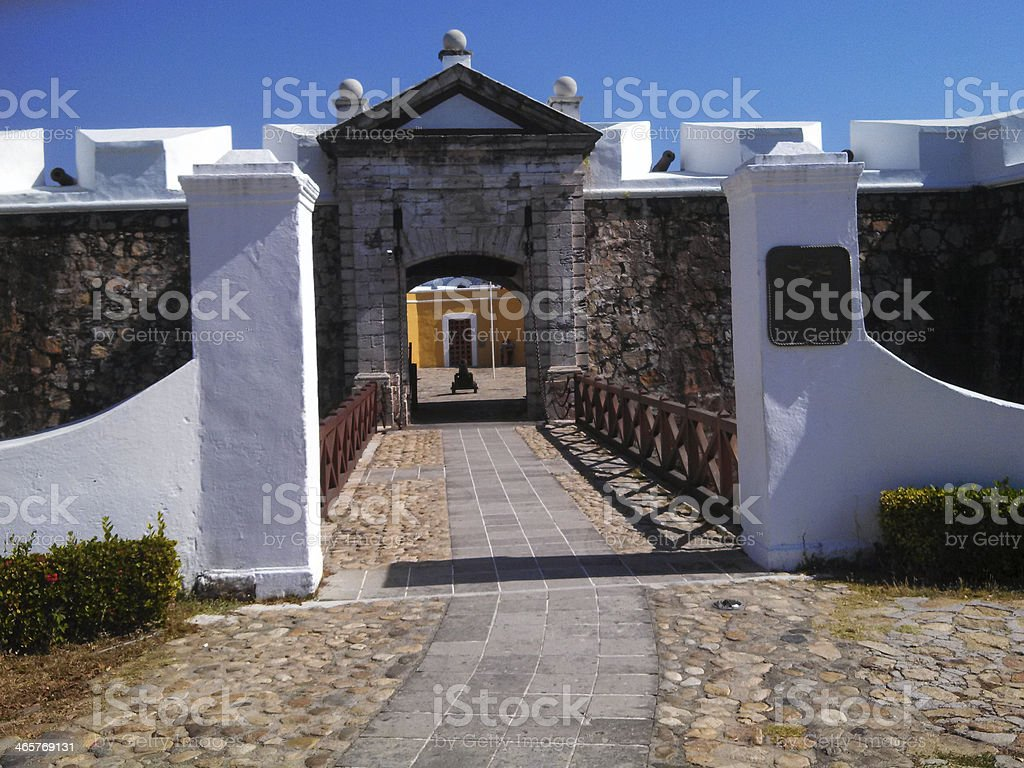 Entry to Historic Fort San Diego Acapulco Mexico stock photo