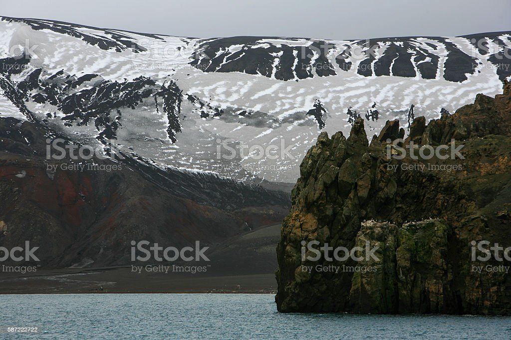 Entry to Port Foster, Deception Island, Antarctica stock photo
