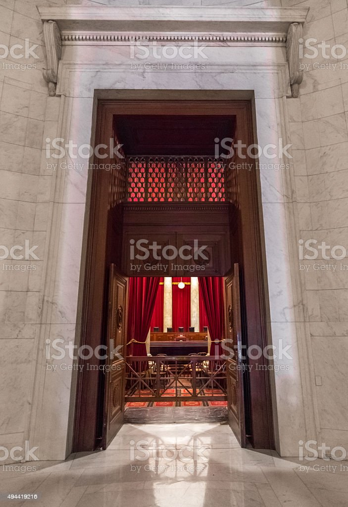 Entry to the United States Supreme Court Courtroom stock photo