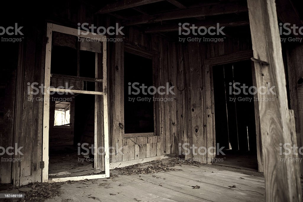 Entryway to Spooky Old Abandoned Shack royalty-free stock photo