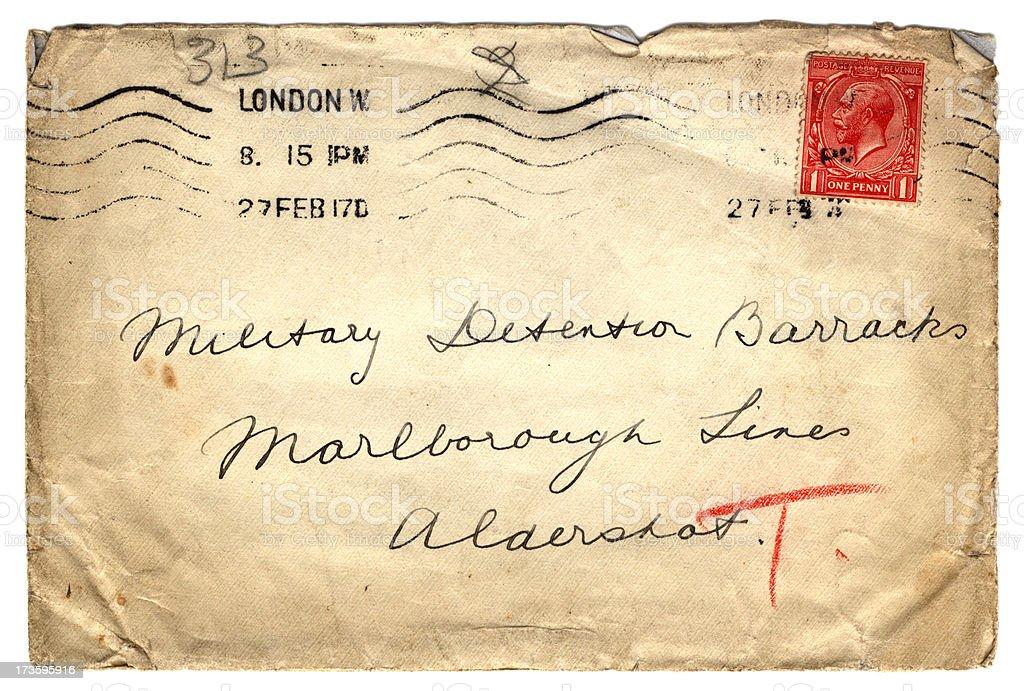 Envelope addressed to Military Detention Barracks stock photo