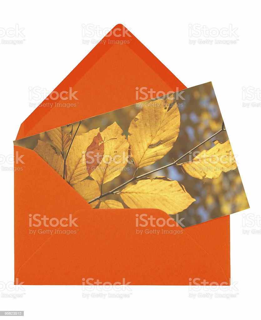envelope and autumn card royalty-free stock photo