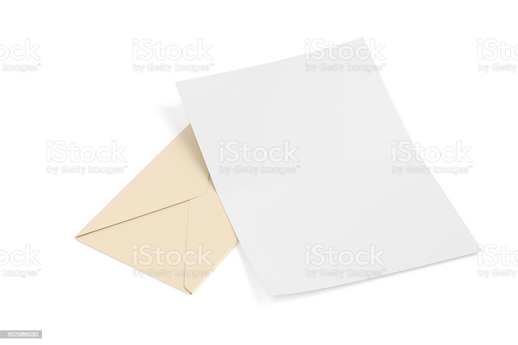 Envelope and blank paper stock photo