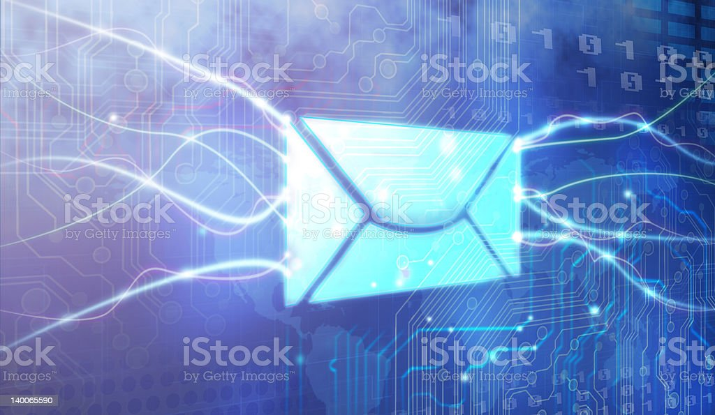 Envelope and bright white lines on blue background stock photo