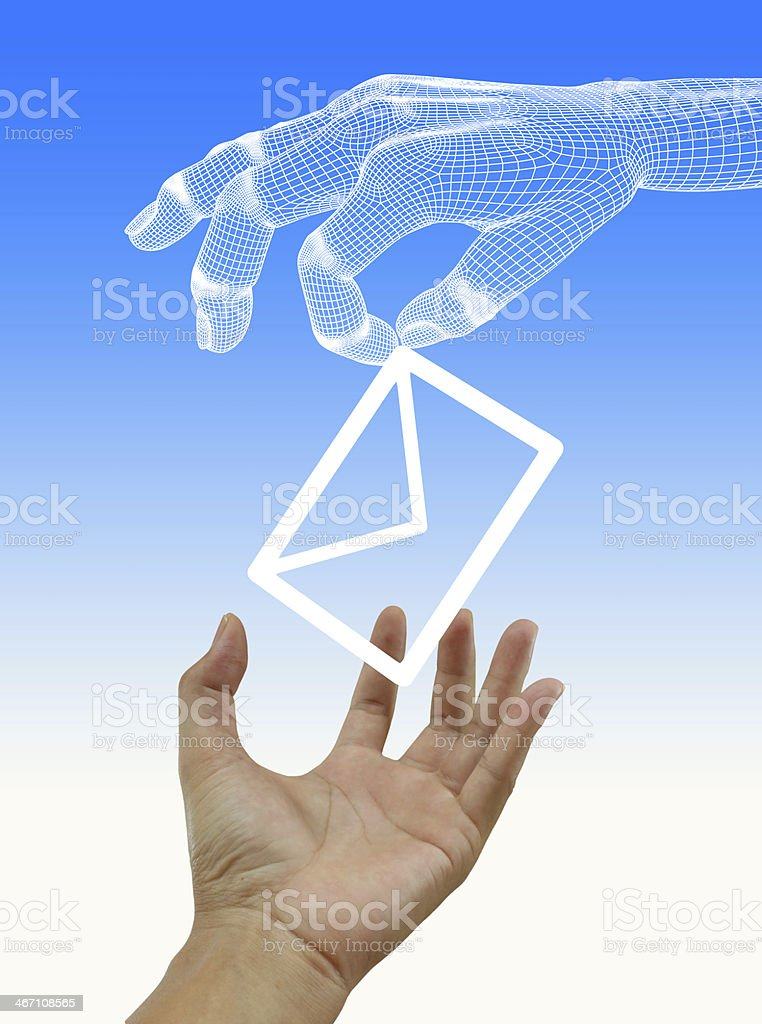 Envelope and e-mail in the hands stock photo