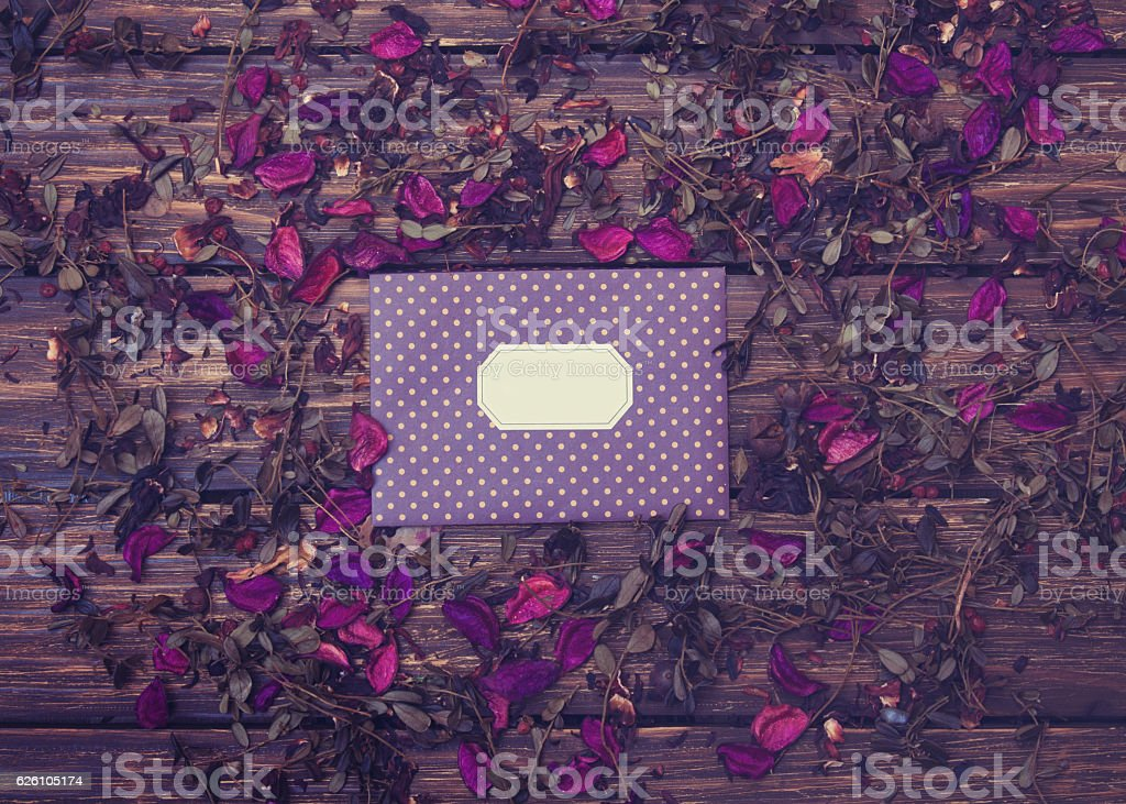 Envelope and herbs stock photo