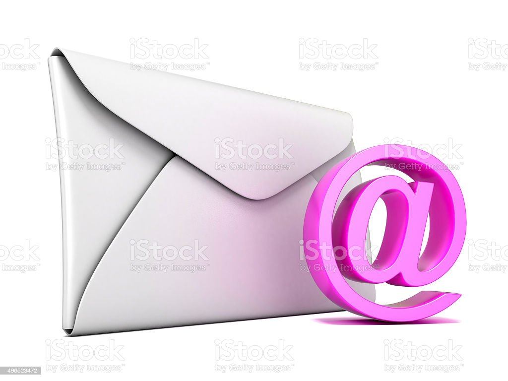Envelope and pink email symbol. 3D render stock photo