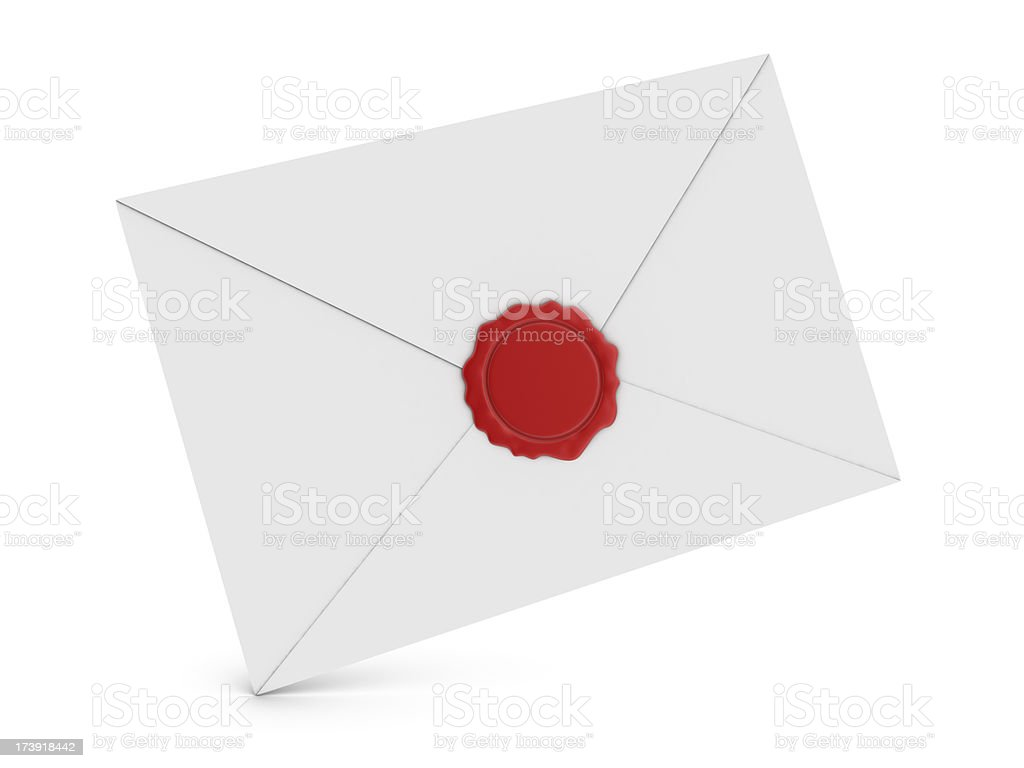 Envelope and Wax Seal stock photo