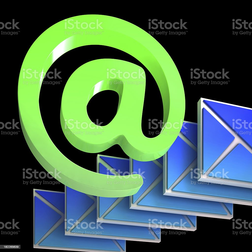 Envelope At Sign Shows Correspondence on Web royalty-free stock photo