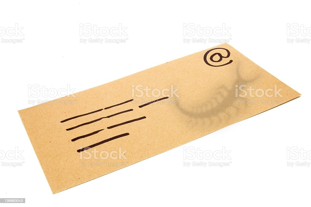 Envelope, concept for email with a virus infected attachment. stock photo