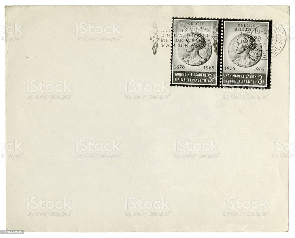 Envelope from Belgium, 1965 stock photo