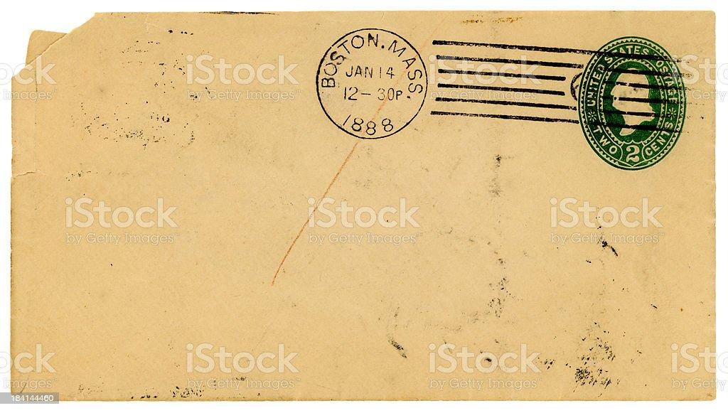 Envelope from Boston, Massachusetts, 1888 stock photo