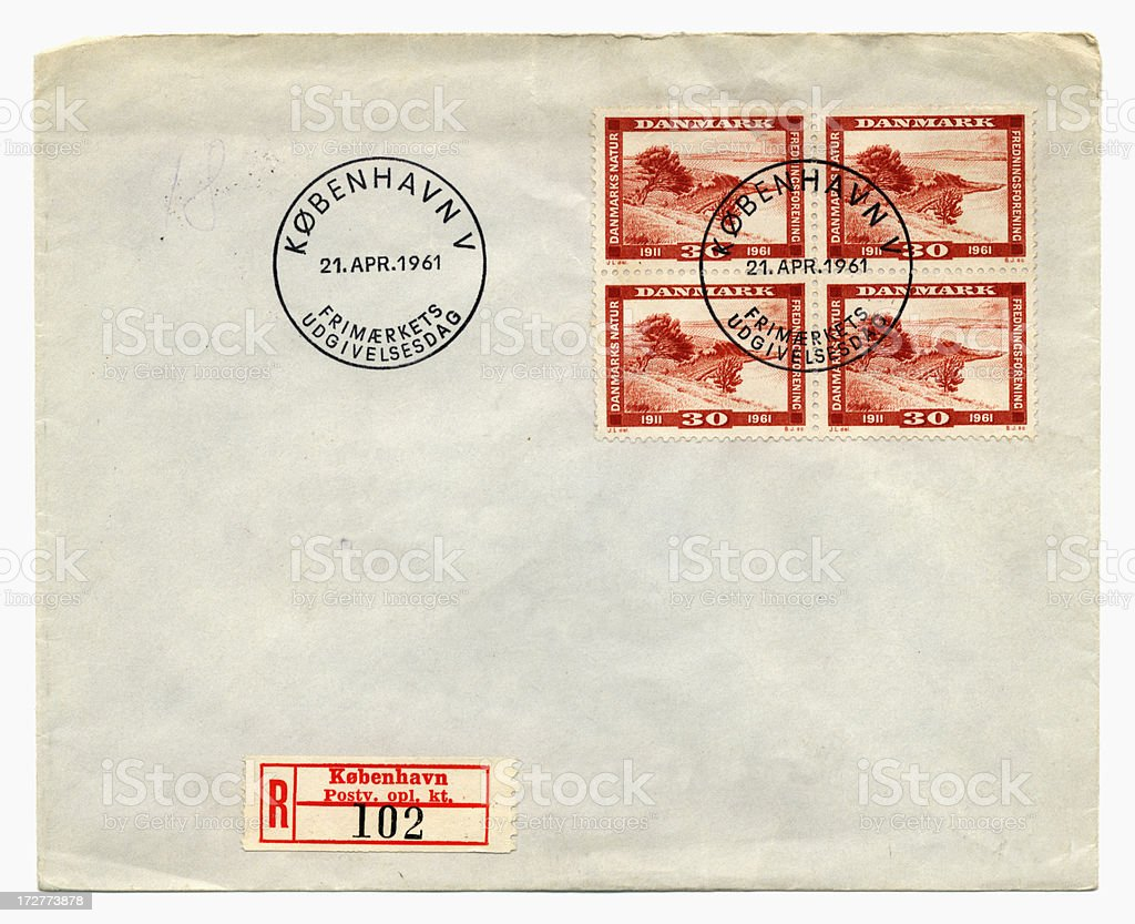Envelope from Denmark, 1961 royalty-free stock photo