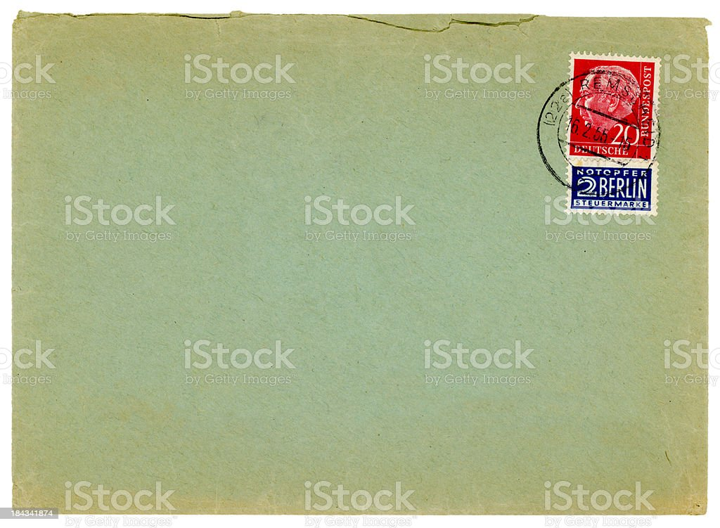 Envelope from Germany, with tax stamp for West Berlin, 1955 stock photo