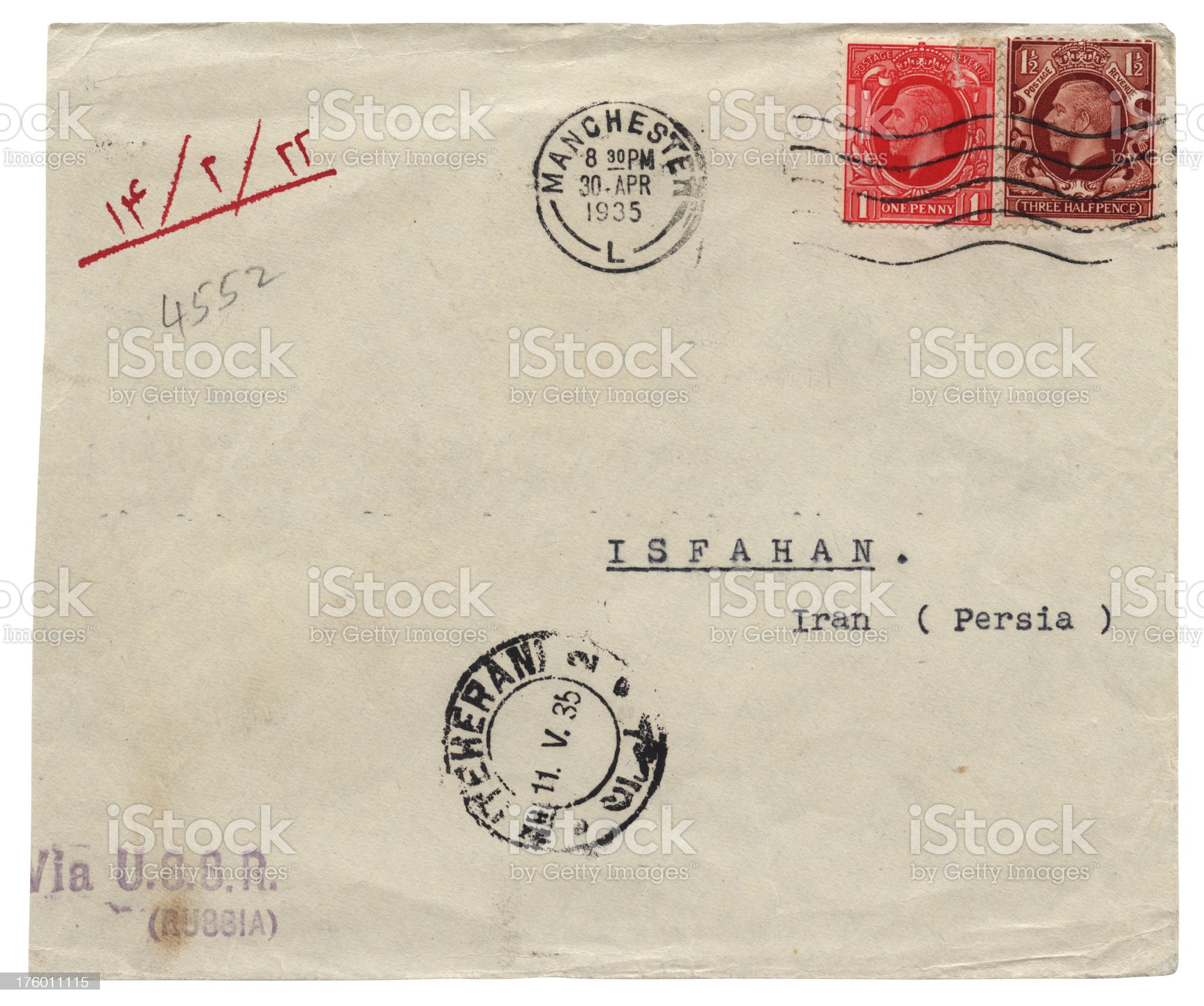 Envelope from Manchester to Isfahan (Persia) via Russia, 1935 royalty-free stock photo