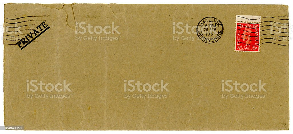 Envelope from Matlock, Derbyshire, 1951 royalty-free stock photo