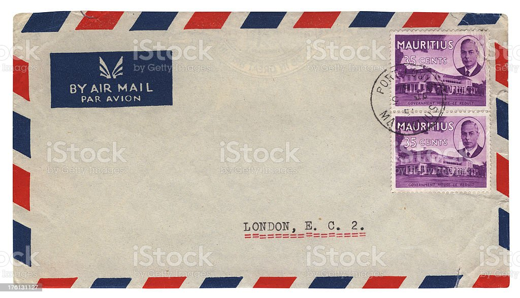 Envelope from Mauritius 1951 (reign of George VI) royalty-free stock photo
